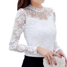 <b>S</b>-<b>5XL Lace</b> Blouses Tops Autumn Women Tops Plus Size Blouse ...