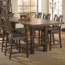 dining table leaf hardware: padima rustic rough sawn counter height table with extension leaf and dark metal bracket hardware