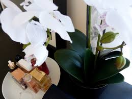 day orchid decor: ive always loved orchids but cant keep up with caring for them thankfully in this day and age there are artificial flowers so i purchased one to add a