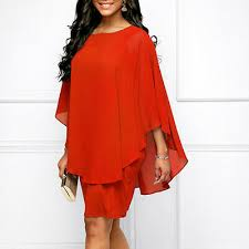 <b>New</b> Women Ladies Chiffon Dress Large Lotus Sleeve <b>Cape</b> ...