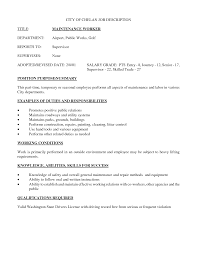maintenance worker job description sample resume sample resume  maintenance job resume 25 breathtaking sample