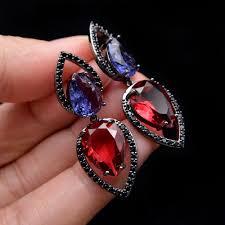 <b>CINDY XIANG</b> Red And Purple Color <b>Cubic Zirconia</b> Stud Earrings ...