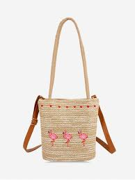 [63% OFF] 2019 Flamingo <b>Heart</b> Embroidery <b>Shoulder Bag</b> In TAN ...
