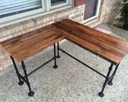 reclaimed wood desk l table solid oak w 28 black iron pipe legs black iron pipe table