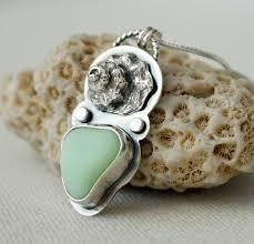 Seafoam Green Milk Glass Sea Glass and <b>Seashell</b> Pendant