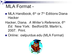 How to Format Essays   Ocean County College MLA Documentation Works Cited Page Adapted from source  Hacker  Diana  Working with Sources