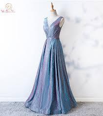 <b>Bling Prom Dresses Sheer</b> Neck Light Blue A line Long Crystal ...