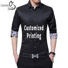 <b>Lanmaocat Custom</b> Cotton Casual Shirts For Men <b>Customized</b> T ...