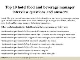 food  amp  beverage manager   linkedintop  hotel food and beverage manager interview questions and answers