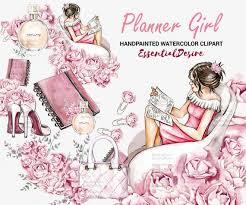 <b>Watercolor</b> Planner <b>Girl</b> Clipart Cute <b>Pink</b> Planner <b>Fashion Girl</b> ...