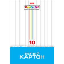 Набор <b>картона</b> Белый 10л А4ф 200х280мм в папке-<b>Creative Set</b>