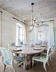 chair dining room tables rustic chairs: rustic dining room with white tone andfloral pattern cushioned chair and oval table and vintage