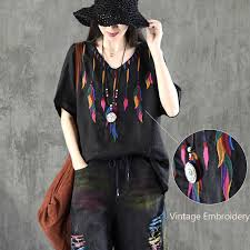 Ethnic Literary Embroidery <b>Plus size</b> Blouse Women O neck Loose ...