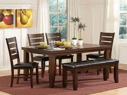 black kitchen dining sets: endearing brown wooden pretty rectangle shape brown wooden dining table brown armless chairs rectangle shape bench black leather seats rectangle shape red frieze carpet kitchen dining bench with table furniture awesome des
