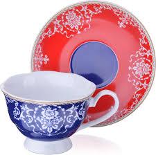 Чайная пара Loraine, цвет: синий, красный, белый, 220 мл, 2 ...