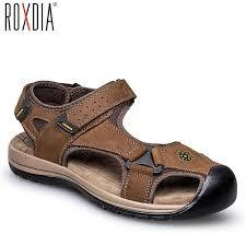 ROXDIA plus size 39 48 <b>genuine cow leather men</b> sandals summer ...