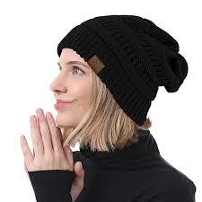 Durio <b>Womens Knit Beanie</b> Winter Thick <b>Solid</b> Fleece Lined <b>Beanie</b> ...