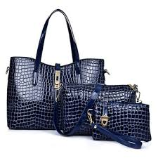 3 pcs <b>women stone pattern</b> handbags elgant shoulder bags cluthes ...