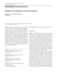 sample size estimation in prevalence studies pdf available