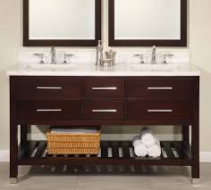 bathroom vanity 60 inch:  inch double sink modern cherry bathroom vanity with open shelf and choice of counter top