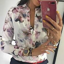 2019 <b>Hot Sale Spring</b> Women Elegant Casual <b>Blouse</b> Floral Print ...