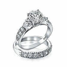 <b>Bling</b> Jewelry .925 Silver <b>CZ</b> Heart Side <b>Stones Wedding</b> ...