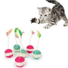 <b>Pet Cat Kitten Toy</b> Rolling Sisal Scratching ball Funny Cat Kitten ...