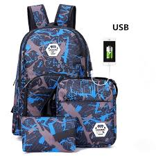 Details about <b>3pcs</b>/<b>set USB Male backpacks</b> camouflage school ...