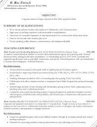 Sample Teaching Resume Sample Of An Education Resume Resume     happytom co