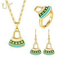 <b>U7</b> KUNDU Drum <b>Pendant Necklace</b> / Earrings / Resizable Ring Set ...