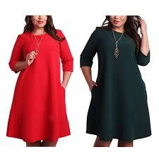 Plus Size <b>Women's</b> Clothing Fashion Dress <b>O Neck Pockets</b> ...