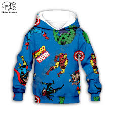 Kids Boys 3d Hoodies <b>Avengers Marvel</b> Superhero Iron Man Thor ...