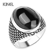 Kinel Luxury Vintage Men's <b>Rings</b> Punk <b>Black Ring</b> Silver Color Oval ...