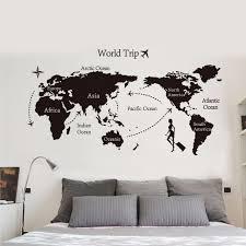 6090cm world trip global map wall stickers office living room decor diy vinyl wall aliexpresscom buy office decoration diy wall