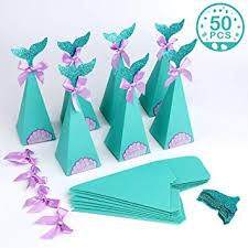 Aparty4u <b>50pcs Mermaid</b> Party Boxes <b>Mermaid</b> Gift Bags <b>Candy</b> ...