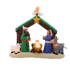 outdoor christmas decorations nativity home accents holiday  ft h inflatable nativity scene