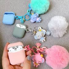 3D cute Lovely Glossy shell metal Keychain <b>silicone Headphone</b> ...