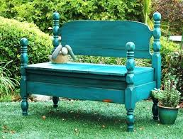 bed turned into bench bench painted chalk paint
