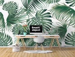 <b>Custom Wallpaper Nordic Tropical</b> Leaves Banana Leaf TV Sofa ...