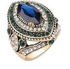 Luxury <b>Vintage</b> Jewelry Green Crystal <b>Big Wedding Rings</b> for Women