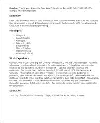 Professional Sales Order Processor Templates to Showcase Your     My Perfect Resume Resume Templates  Sales Order Processor