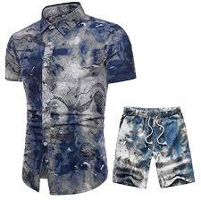Men Street Shirt and Shorts Summer <b>Bohemia Style Printed</b> Outfit ...