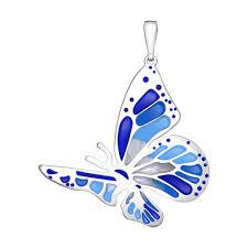<b>Подвеска бабочка</b> из серебра с голубой и синей эмалью ...