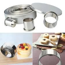 4 pcs Stainless Steel <b>Round Circle</b> Cookie <b>Fondant</b> Cake Mould ...