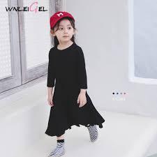 2019 Wlg 2019 <b>Spring</b> Girls Basic Dresses <b>Kids Tight</b> Casual Solid ...