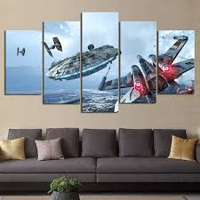 <b>HD Print 5 pieces</b> canvas wall art Millennium Falcon X Wing star ...