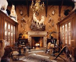 Lodge Living Room Decor Decorations Large Lodge Interior Of Hunting Room With Stone
