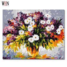 <b>WEEN</b> White Little Flower Pictures By Numbers <b>DIY Digital</b> Vase ...