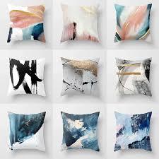 <b>Stripe Geometric Designer</b> Grey Cushion Cover White and Black ...