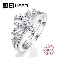 JQUEEN 2PCS Water Drop Clear Crystal Crown Ring Set 100 ...